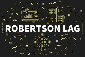 Conceptual business illustration with the words robertson lag