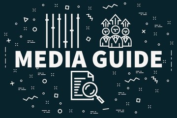 Conceptual business illustration with the words media guide