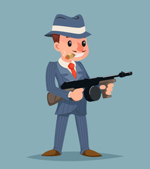Gangster with Submachine Gun Thug Criminal Character Icon Retro Cartoon Design Vector Illustration