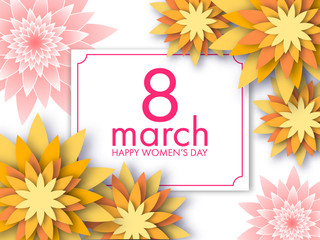 8 March card with paper art origami style flowers. Vector illustration to the Women's Day