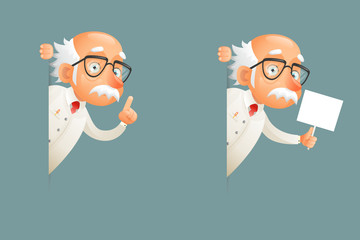 Look Out Corner Old Wise Scientist Character Icons Cartoon Design Vector Illustration Wall mural