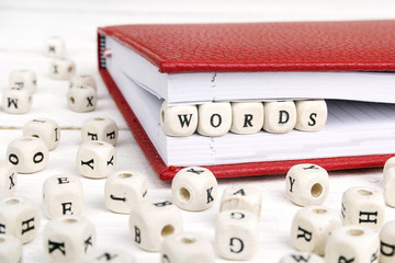 Word Words written in wooden blocks in red notebook on white wooden table. Wall mural