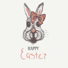 Easter rabbit. Card with sketch watercolor hand drawn illustration for your design