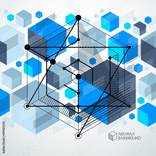 Technical Blueprint Vector Blue Digital Background With Geometric Design Elements Cubes Engineering Technological