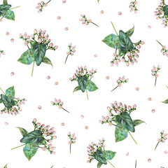 Seamless floral pattern with pink hypericum berries on white. Spring plants. Botanical natural background drawn by hand with colored pencil.