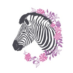 Zebra portrait in a striped tie with a pink glasses on a gray background. Vector illustration.