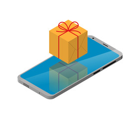 smart phone Isometric. sign gift box