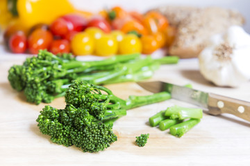 Fresh bimi broccoli and vegetables still life
