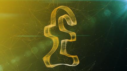Sparkling Pound Symbol in Khaki Cyberspace