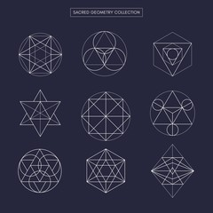 Sacred geometry (non expanded outline vector). Philosophy, spirituality, alchemy, religion, symbols and elements.