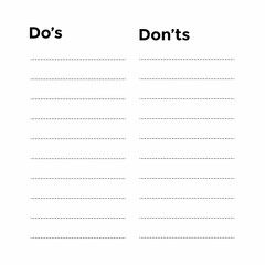 Foto op Canvas Boho Stijl Do's and Don'ts List on Paper. vector