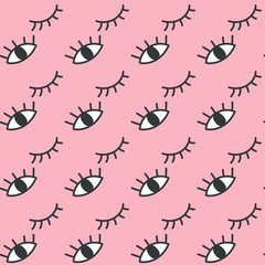 Hand drawn open and winking eyes doodles seamless pattern.