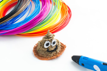 Colorful rainbow plastic filaments with for 3D pen laying on white background. New toy for child. 3d paintings and figures with their own hands.