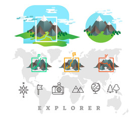 Explorer vector illustration set with mountains and line icons.