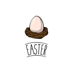 Egg in a nest. Easter. Christian symbol. Easter template.
