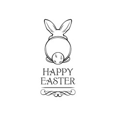 Easter rabbit, easter Bunny. Happy Easter lettering. Vector.