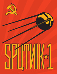 Retro Sputnik Satellite Vector Design.
