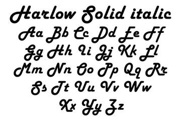 Harlow solic italic font alphabet