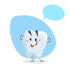 Cartoon healthy tooth smiling mascot. Dental care  character with dummy speech bubble. Vector illustration.