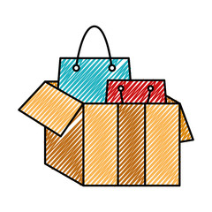 doodle shopping bags inside open box package