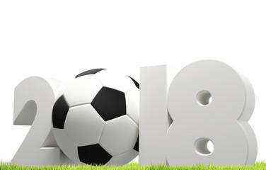 symbol 2018 white soccer football ball bold letters 3d rendering