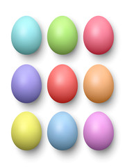 Set of realistic eggs on white background. Vector illustration.