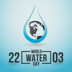 World water day. Save water concept. Water drop and eart. Vector illustration.