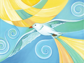 Seagull bird flying over the sky with the bright sun on the background. Acrylic painting on canvas. Hand painted artwork.