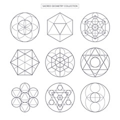 Sacred geometry. Original outline vector (non expanded outline). White background.