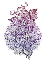 Beautiful Koi carp fish with lotus flower mandala.