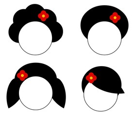 Ícones de cabelo feminino