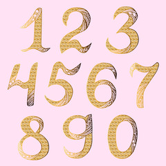Hand drawn golden numbers. Isolated on background. Vector.