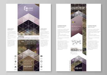 Blog graphic business templates. Page website design template, easy editable vector layout. Abstract multicolored backgrounds. Geometrical patterns. Triangular and hexagonal style.