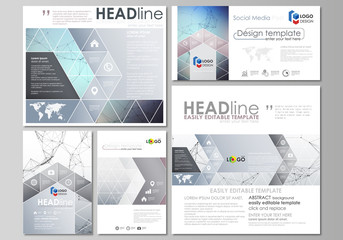 Social media posts set. Business templates. Abstract design template, vector layouts in popular formats. Compounds lines and dots. Big data visualization in minimal style. Graphic background.