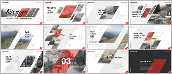 Clean and minimal presentation templates. Red elements on a white background. Brochure cover vector design. Presentation slides for flyer, leaflet, brochure, report, marketing, advertising, business