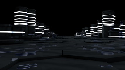 Futuristic concept of server room in datacenter. Big data storage, server racks with neon lights on black background. Technology and connection concept. Abstract 3d rendering illustration
