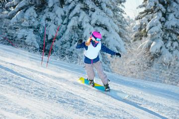 Snowboard racing slalom, winter sports