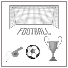 a set of accessories for playing football. 