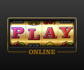 Play Online, slot machine games banner, gambling casino games, slot machine illustration with text Play Online
