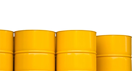 yellow oil steel drums, yellow metal tank containers isolate on white background