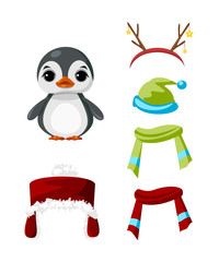 Cute paper doll with winter outfits. Nice penguin.