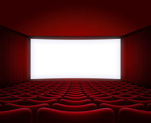 movie theater hall with red seats interior