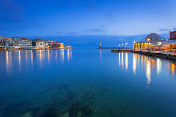 Architecture of Chania at night with Old Venetian port on Crete. Greece