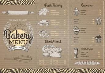 Vintage bakery menu design on cardboard texture. Restaurant menu. Document template