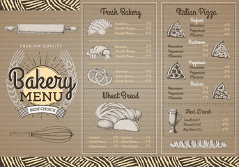 Vintage  bakery menu design on cartboard background. Restaurant menu