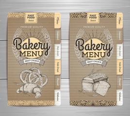 Vintage bakery menu design on cardboard background. Restaurant menu. Document template
