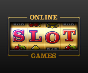 Online Slot Games, slot machine games banner, gambling casino games, slot machine illustration with text Online Slot Games