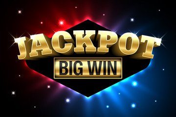 Jackpot, gambling casino money games banner, big win