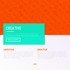 Creative concept with thin line icons: generation of idea, start up, brief, brainstorming, puzzle, color palette, creative vision, genius, solving problem. Modern vector illustration.