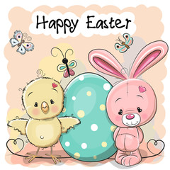 Cute cartoon  Rabbit and Chicken with egg